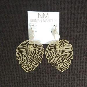 Natasha Pearl and Tropical🌴 Leaf Earrings - NWT